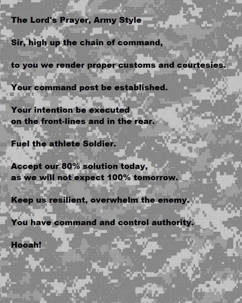 The Lord's Prayer, Army Style – Daniel Haas